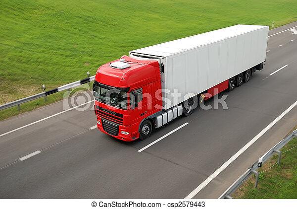 supérieur, caravane, blanc, vue, camion, rouges, autoroute - csp2579443