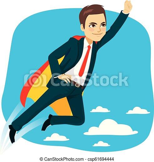 Super Business Man Hero Flying - csp61694444