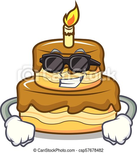 Fabulous Super Cool Birthday Cake Character Cartoon Vector Illustration Funny Birthday Cards Online Elaedamsfinfo