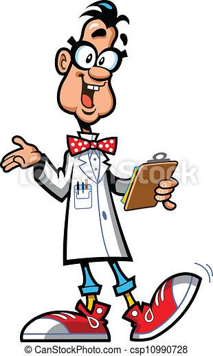 super genius happy laboratory professor scientist with vector rh canstockphoto com Scientist Thinking Clip Art Chemistry Clip Art