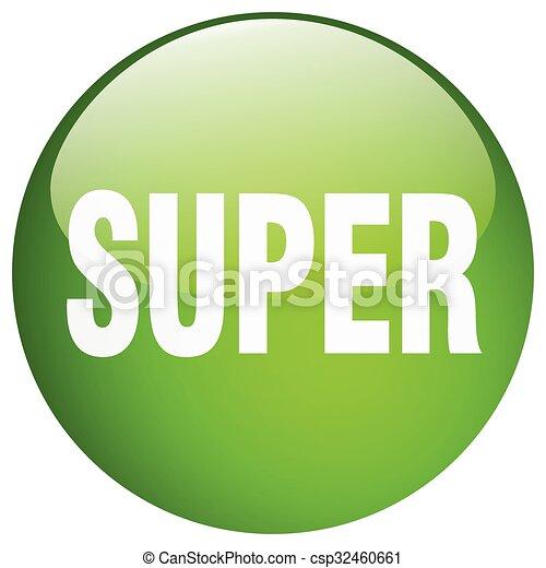 super green round gel isolated push button - csp32460661