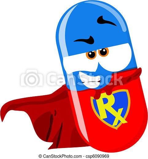 super héroe, píldora - csp6090969