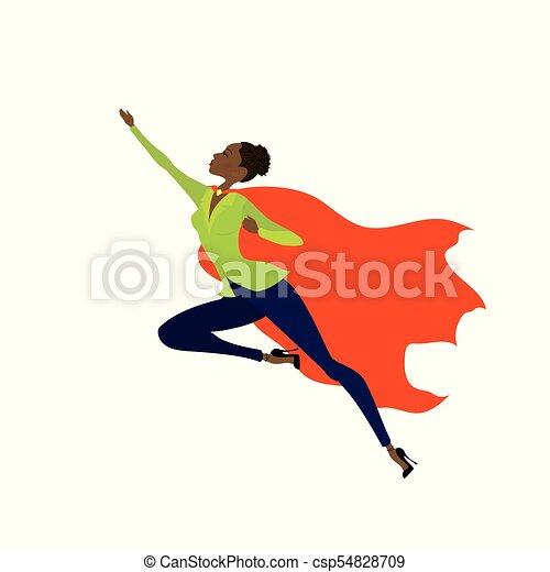 Super Hero african amercan woman in the fly - csp54828709