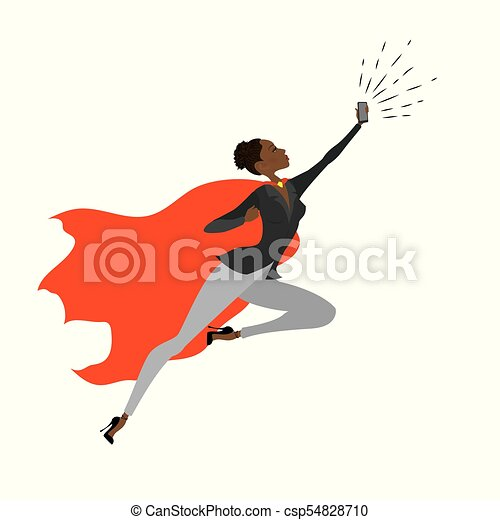 Super Hero african american woman in the fly - csp54828710