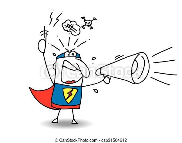 Super Hero Angry megaphone  - csp31504612