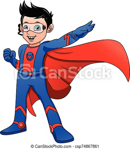Super hero boy posing - csp74867861