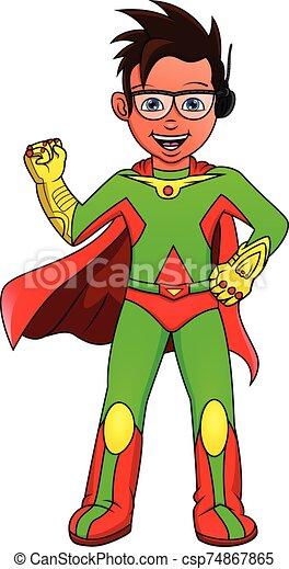 Super hero boy posing - csp74867865