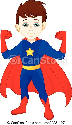 Super hero boy posing - csp29281127