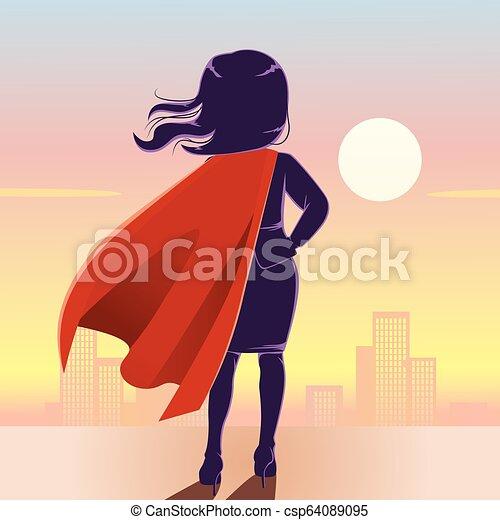 Super Hero Businesswoman Back - csp64089095