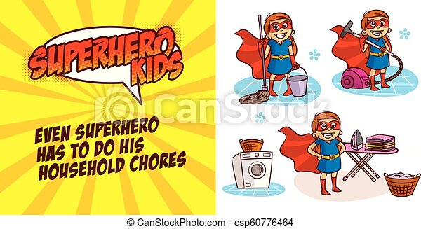 Super hero girl Cartoon character Vector illustration - csp60776464