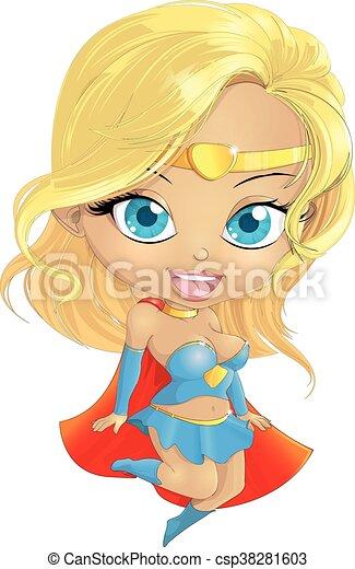 Super Hero Girl in the fly - csp38281603