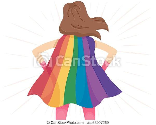 Super Hero Girl Rainbow Cape Lgbt Illustration - csp58907269