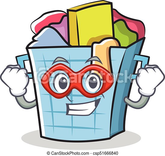 super hero laundry basket character cartoon vector eps vector rh canstockphoto com