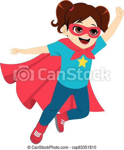 Super Hero Little Girl Flying - csp63351810