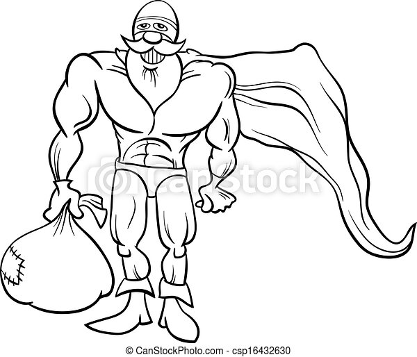 super hero santa coloring page csp16432630