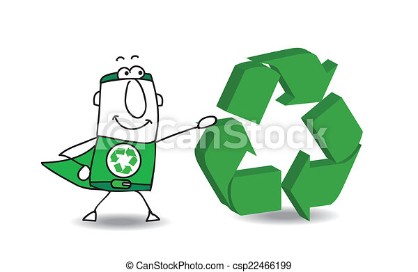 Super Hero with a recyling sign - csp22466199