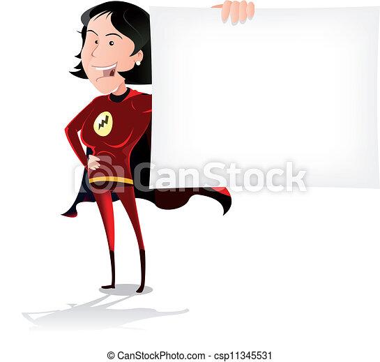 Super Hero Woman Banner - csp11345531