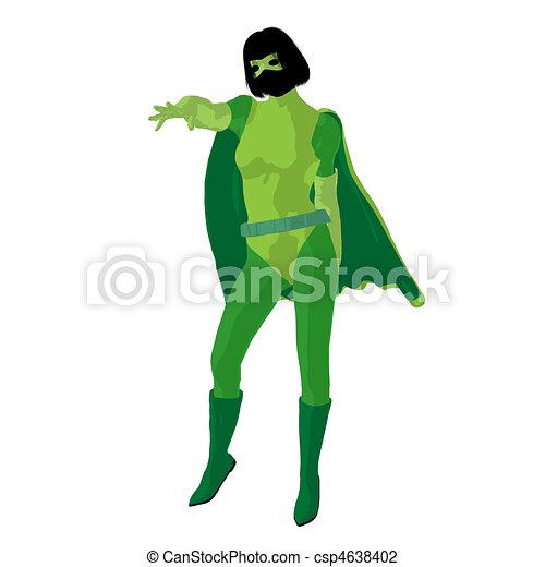 Super Heroine Illustration Silhouette - csp4638402