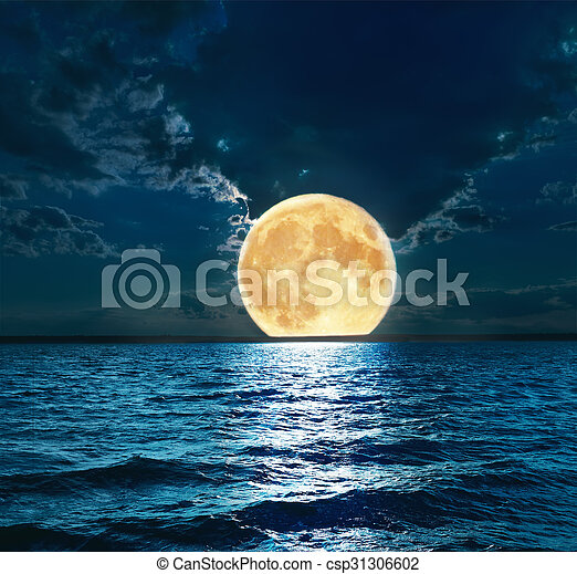 super moon over water - csp31306602