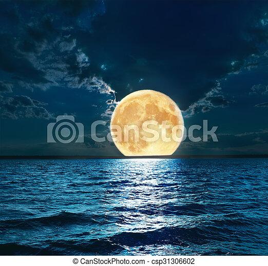 super moon over water - csp31306602