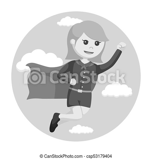 Super office girl flying with sky background - csp53179404