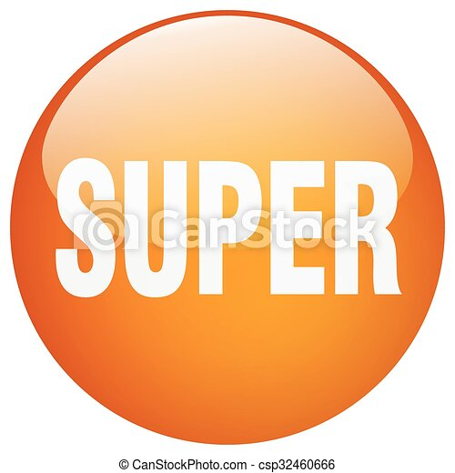 super orange round gel isolated push button - csp32460666