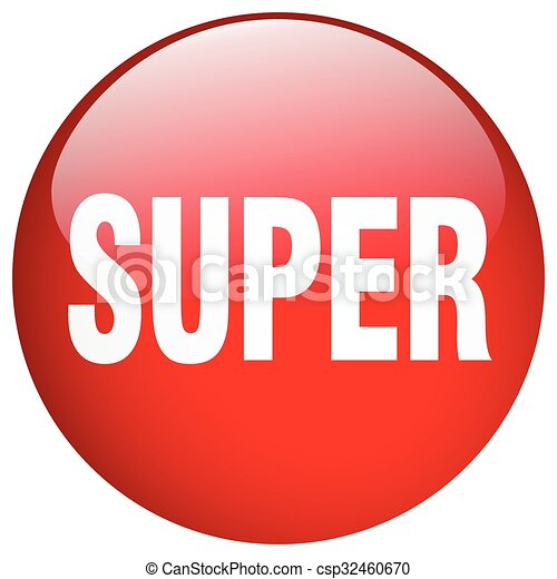 super red round gel isolated push button - csp32460670