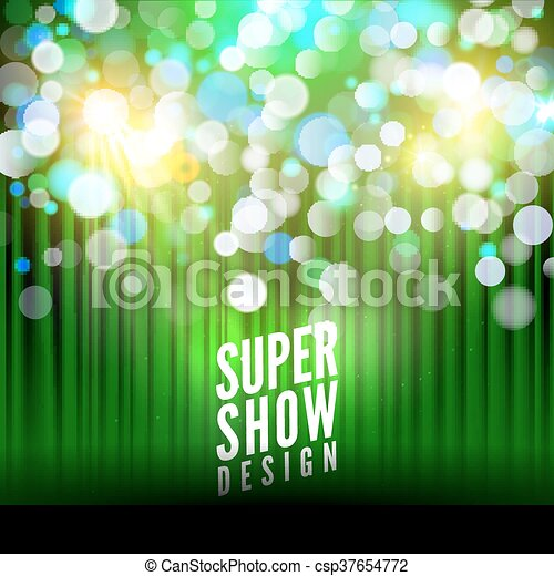 Super show poster template with bokeh lights  Greeting, theater, concert,  musical dance, presentation  Beautiful scene with curtains  Vector
