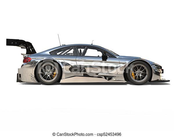 Race Car Side View Super silver modern ra...