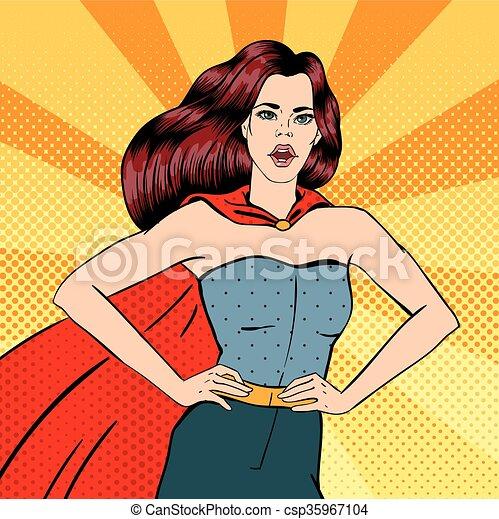 Super Woman. Female Hero. Superhero. Girl in Superhero Costume. Pin Up Girl. Comic Style. Pop Art. Vector illustration - csp35967104