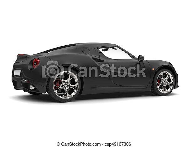 Superb Matte Black Sports Car   Side View Stock Photo