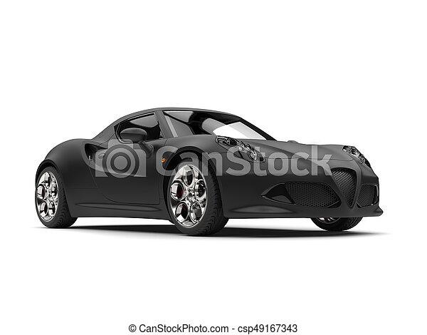 Delightful Superb Matte Black Sports Car Stock Photo