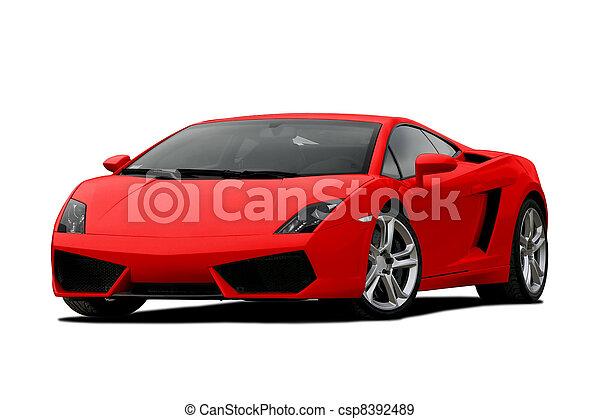 supercar, 3/4, rouges, vue - csp8392489