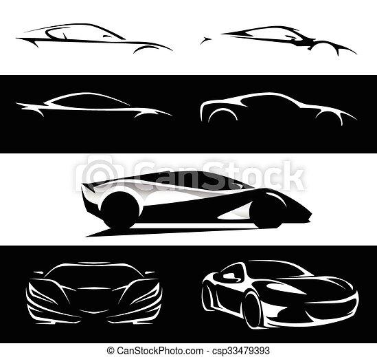 Supercar Set Silhouette Collection Conceptual Supercar Vehicle