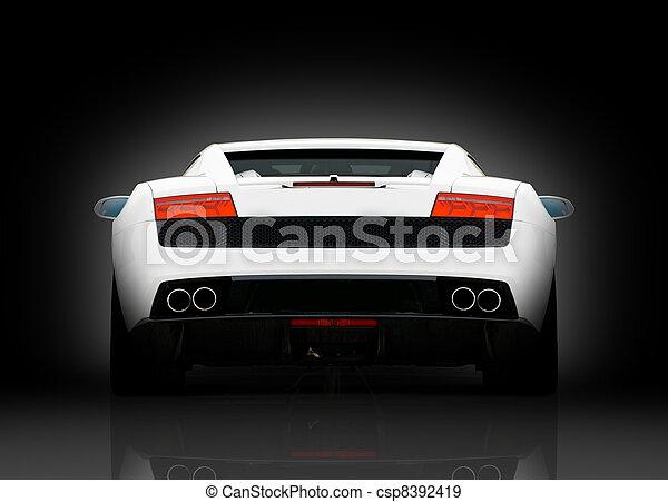 supercar, vihite, hintere ansicht - csp8392419