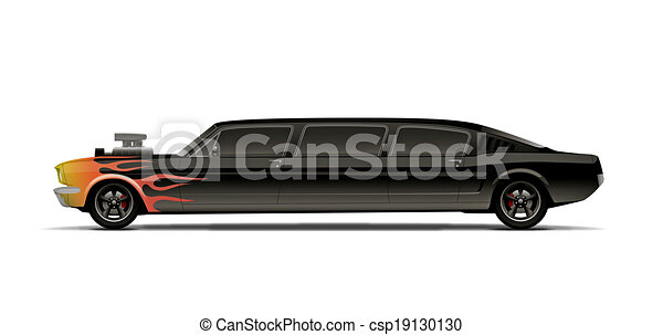 supercharged muscle car limo with flames.