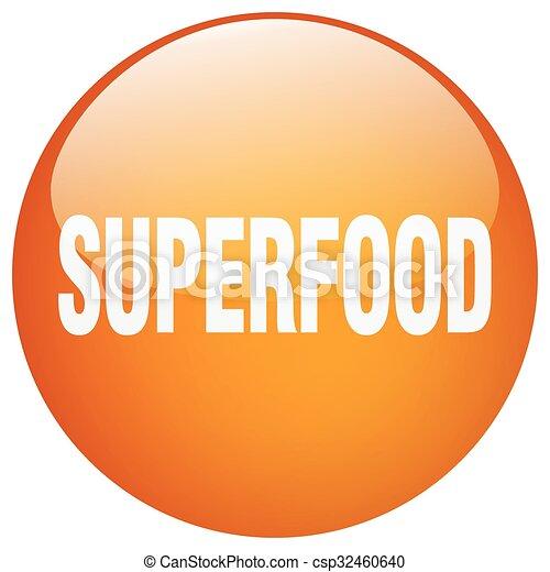 superfood orange round gel isolated push button - csp32460640