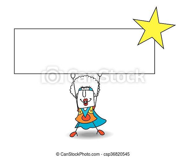 Superhero Black Manba carries a signboard - csp36820545