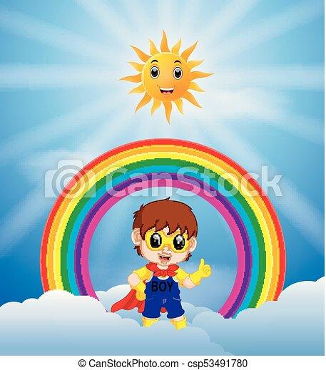 Superhero boy and skies on the rainbow - csp53491780