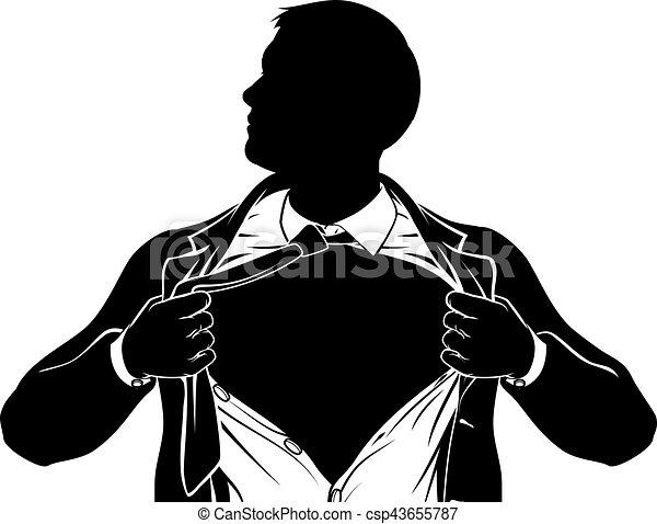 superhero business man tearing shirt showing chest a superhero