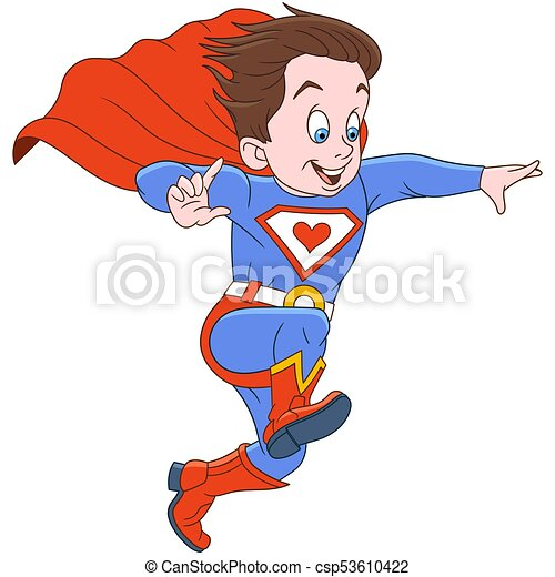 superhero, cartone animato, uomo - csp53610422