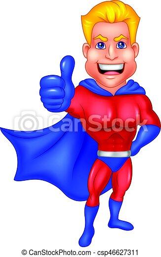 Superhero cartoon giving thumb up - csp46627311