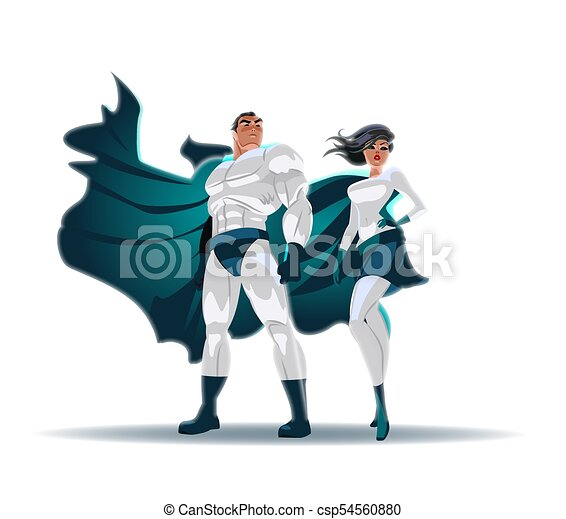 superhero couple male and female superheroes posing in front of a