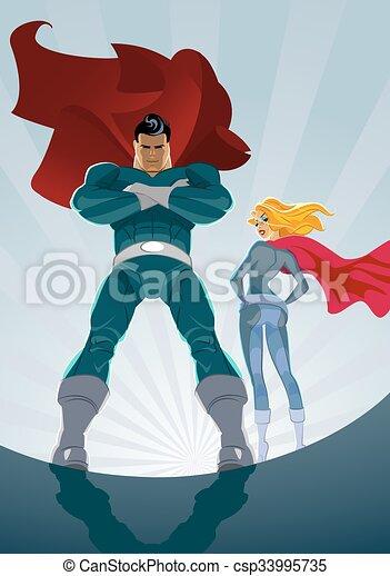 superhero couple male and female superheroes on a skyscraper roof
