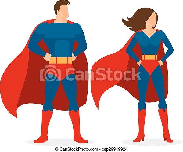 superhero couple of flat superman and superwoman superhero rh canstockphoto com superwoman clipart pictures superwoman clip art free