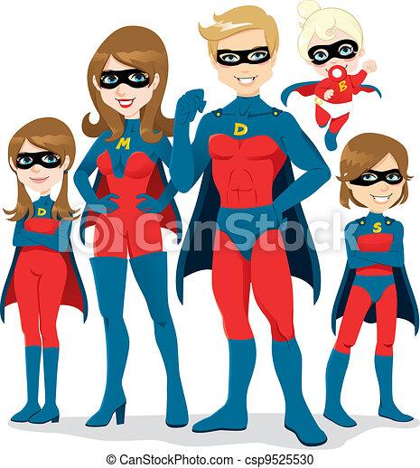superhero, déguisement, famille - csp9525530