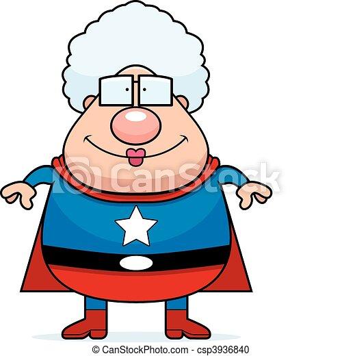 superhero grandma smiling a happy cartoon superhero grandma rh canstockphoto com clip art grandma crocheting clipart granny in a tutu