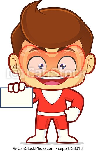 superhero holding a blank business card clipart picture of rh canstockphoto com