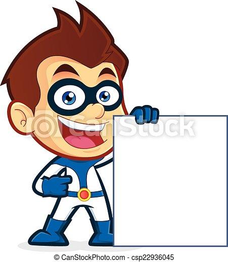 Superhero holding a blank sign - csp22936045