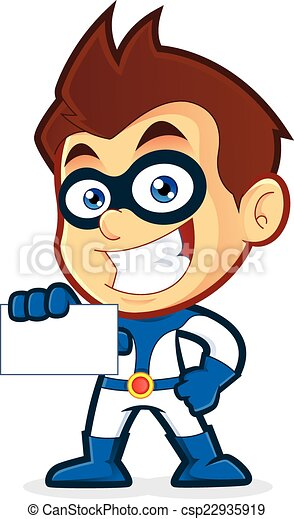 superhero holding business card vector clipart picture of a rh canstockphoto com clip art for business cards free free clipart borders for business cards